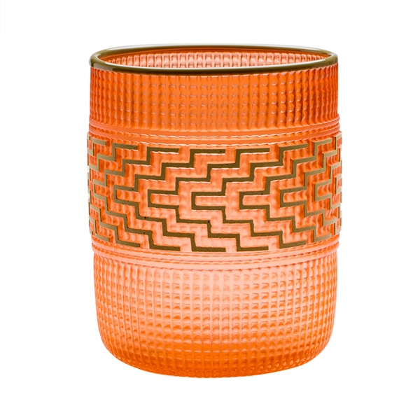 Glass pale orange woven basket with olive lip and pattern throughout