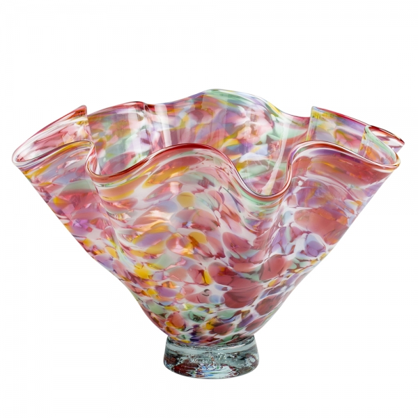 Glass floppy bowl pink with multicolor speckles