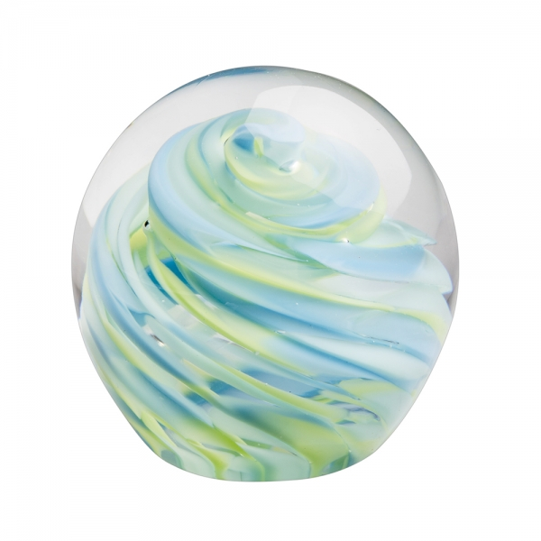 Glass small round paperweight green mix