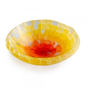 Gabriele Kustner: Slumped Fused Small Bowl, Yellow