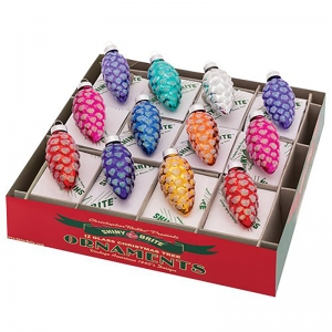 Christopher Radko: Christmas Confetti Pinecone Ornaments, Set of 12