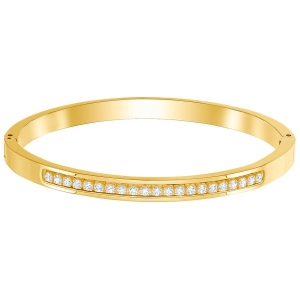 Swarovski: Medium Further Thin Bangle, White, Gold Plated