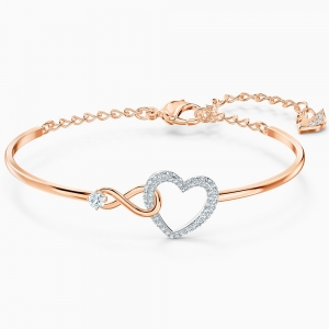Swarovski: Infinity Heart Bangle, White