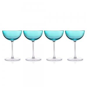 Godinger: Rondo Sea Blue Champagne Coupe, Set of 4