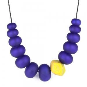 Alicia Niles: Bubble Nugget Necklace, Blue & Ochre