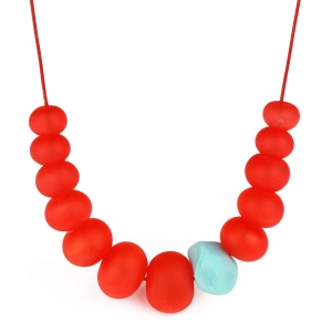 Alicia Niles: Bubble Nugget Necklace, Red & Turquoise