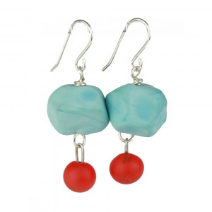 Alicia Niles: Nugget Charm Earrings, Turquoise & Red