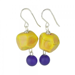 Alicia Niles: Nugget Charm Earrings, Ochre & Blue