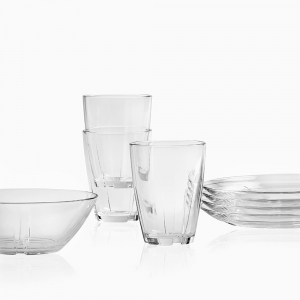 Clear glass bowl, three tumblers, and stack of four plates
