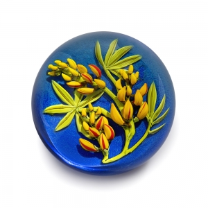 Cathy Richardson: Yellow Lupine on Blue Paperweight