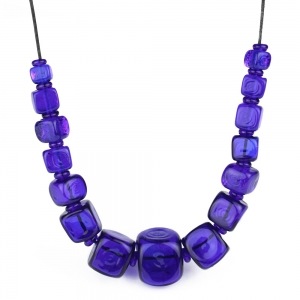 Alicia Niles: Cube Necklace, Cobalt