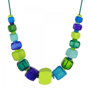 Alicia Niles: Cube Necklace, Blue & Green
