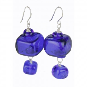 Alicia Niles: Cube Earrings, Cobalt