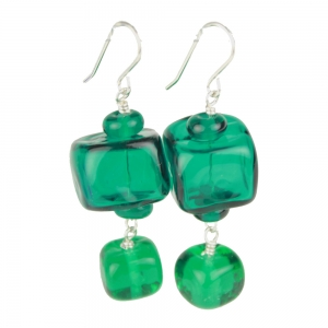 Alicia Niles: Cube Earrings, Teal
