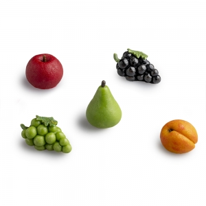 Five assorted small glass fruit pieces