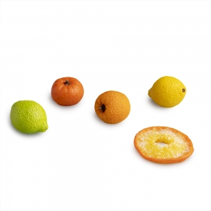 Five assorted small glass citrus fruit pieces