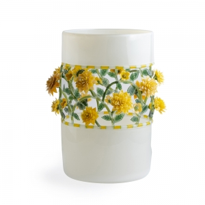 Kari Russell-Pool: Ivory Vase with Yellow Flowers