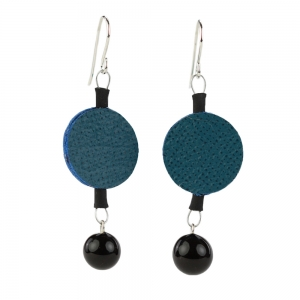 Alicia Niles: Morse Code Earrings, Blue & Black
