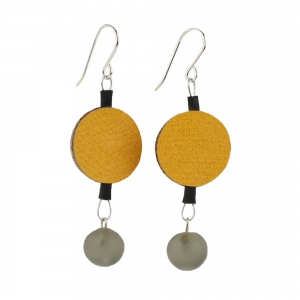 Alicia Niles: Morse Code Earrings, Yellow & Gray