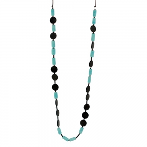 Alicia Niles: Morse Code Necklace, Black & Turquoise