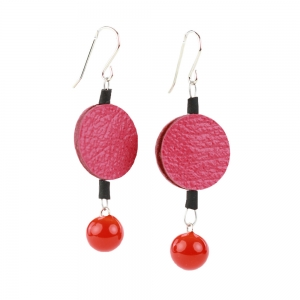 Alicia Niles: Morse Code Earrings, Pink & Orange