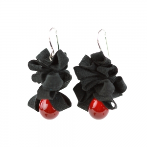 Alicia Niles: Ribbon Earrings, Black & Red