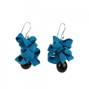 Alicia Niles: Ribbon Earrings, Blue & Black