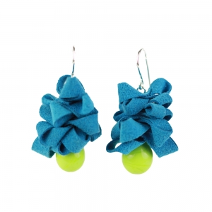 Alicia Niles: Ribbon Earrings, Blue & Green