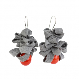 Alicia Niles: Ribbon Earrings, Orange & Gray