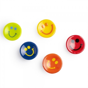 Five glass saucers with smiley faces on them