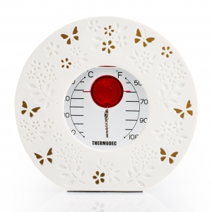 G.W. Schleidt: Round Thermometer with White Ceramic Frame