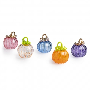 Five small colorful glass pumpkins