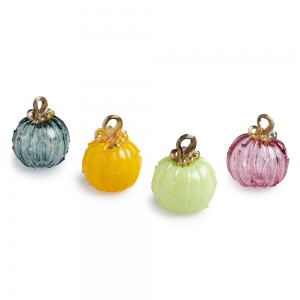 Four colorful glass pumpkins