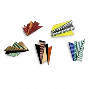 Five colorful geometric glass and metal pins