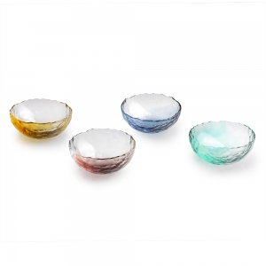 Four glass bowls with scallop edges in various colors