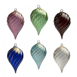 Six glass teardrop ornaments with ridges along the outside and gold accents along the ridges