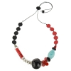 Necklace with blue, gray, red, and black glass beads of various sizes with bead to control length