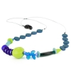 Necklace with blue and green glass beads of various sizes with bead to control length