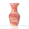 Opposite side of glass mini me solid vase, polished plate glass with laminated pinks, reds and oranges throughout