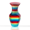Opposite side of glass mini me solid vase, polished plate glass with laminated multicolor with cut sides