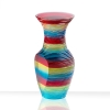 Side view of glass mini me solid vase, polished plate glass with laminated multicolor with cut sides